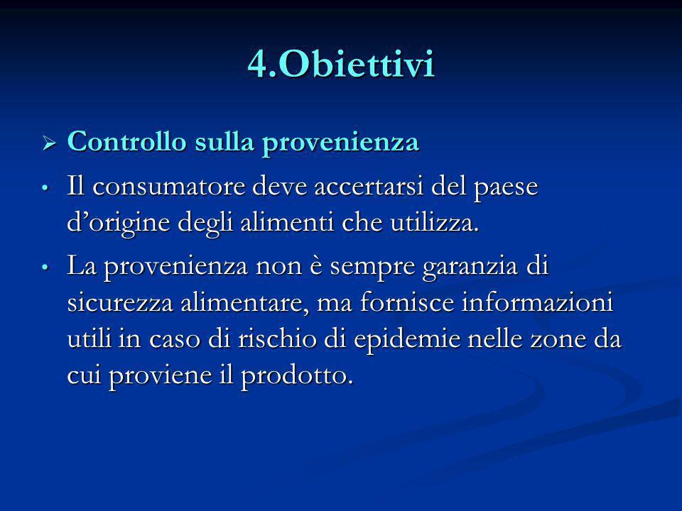 4.Obiettivi Controllo sulla provenienza Controllo sulla provenienza Il consumatore deve accertarsi del paese dorigine degli alimenti che utilizza. Il