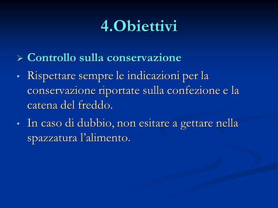 4.Obiettivi Controllo sulla conservazione Controllo sulla conservazione Rispettare sempre le indicazioni per la conservazione riportate sulla confezio