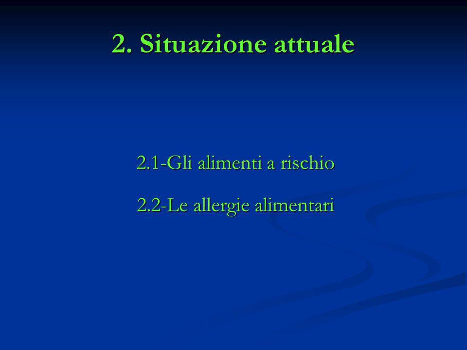 2. Situazione attuale 2.1-Gli alimenti a rischio 2.2-Le allergie alimentari