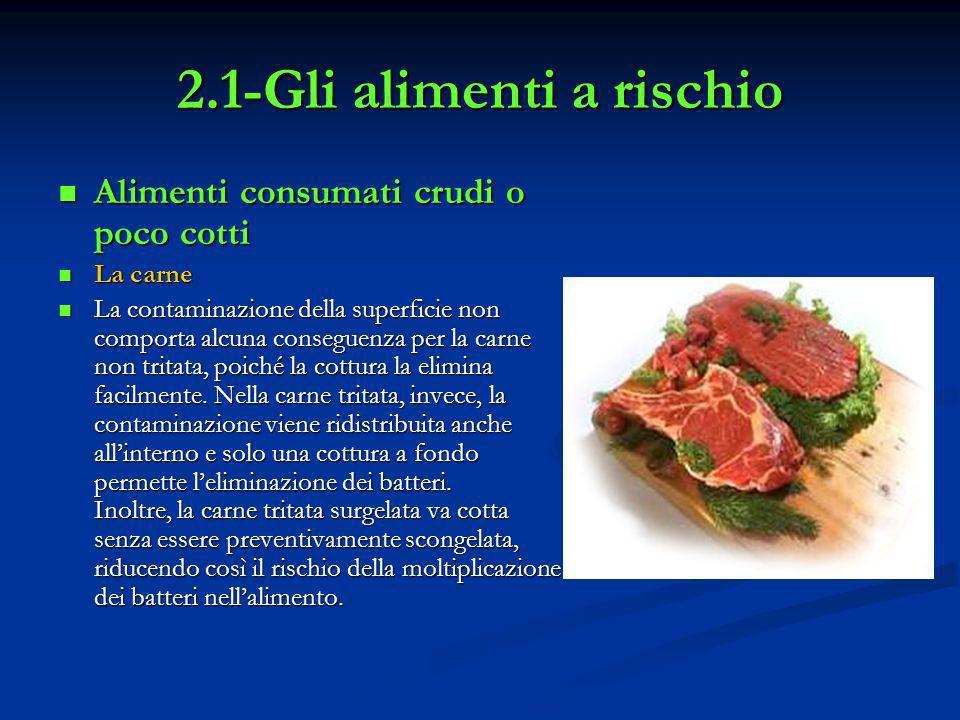2.1-Gli alimenti a rischio Alimenti consumati crudi o poco cotti Alimenti consumati crudi o poco cotti La carne La carne La contaminazione della super