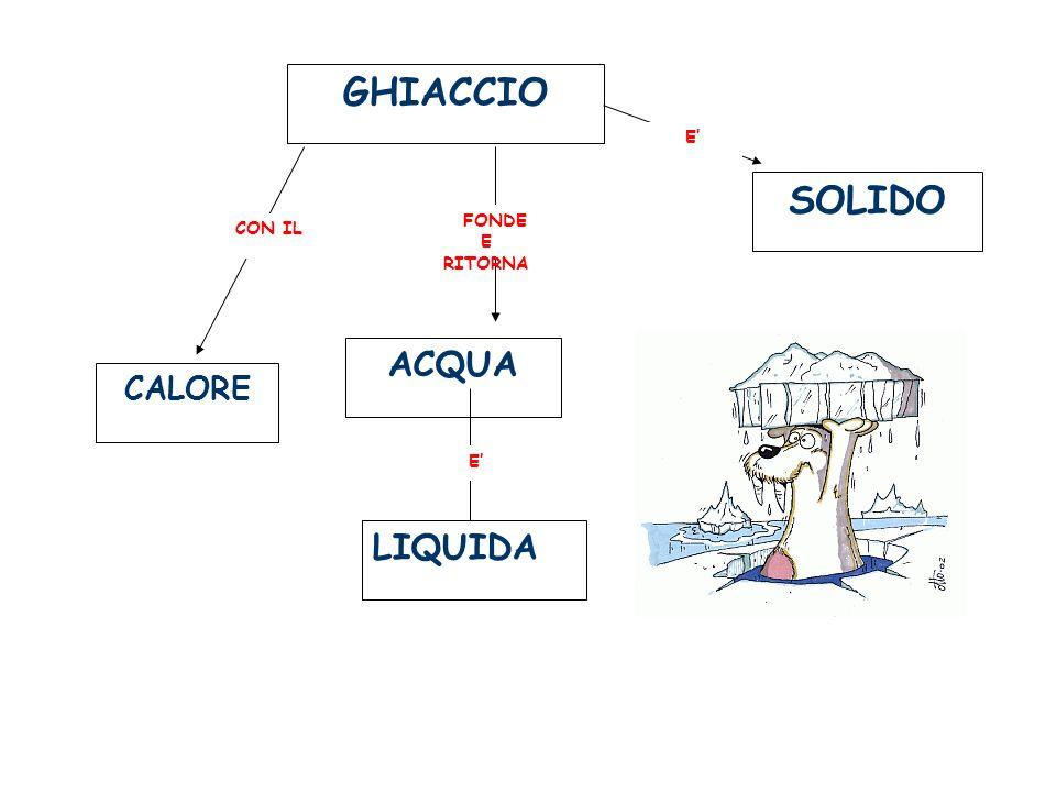 GHIACCIO CALORE ACQUA LIQUIDA CON IL FONDE E RITORNA E SOLIDO E
