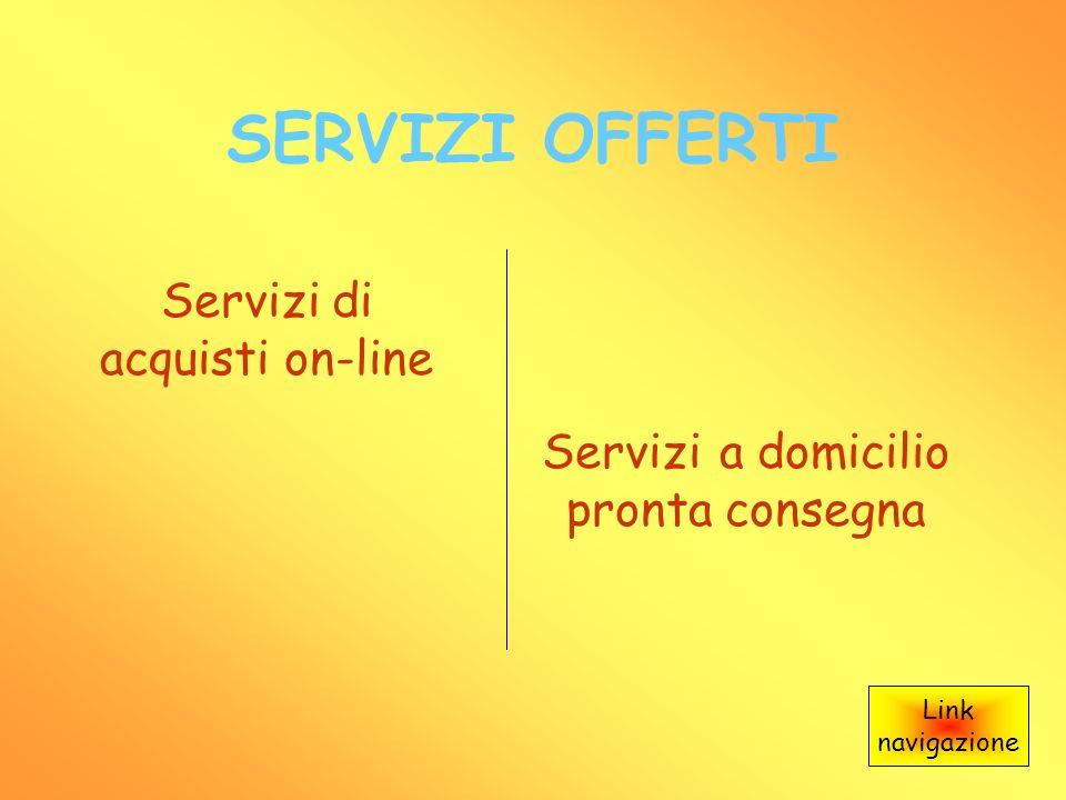 SERVIZI OFFERTI Servizi di acquisti on-line Servizi a domicilio pronta consegna Link navigazione