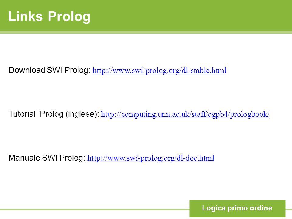 Links Prolog Logica primo ordine Download SWI Prolog: http://www.swi-prolog.org/dl-stable.html http://www.swi-prolog.org/dl-stable.html Tutorial Prolog (inglese): http://computing.unn.ac.uk/staff/cgpb4/prologbook/ http://computing.unn.ac.uk/staff/cgpb4/prologbook/ Manuale SWI Prolog: http://www.swi-prolog.org/dl-doc.html http://www.swi-prolog.org/dl-doc.html