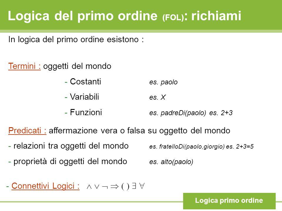 Logica del primo ordine (FOL) : richiami Logica primo ordine In logica del primo ordine esistono : Termini : oggetti del mondo - Costanti es. paolo -