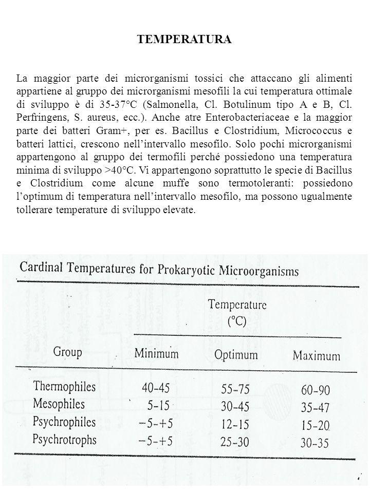 TEMPERATURA La maggior parte dei microrganismi tossici che attaccano gli alimenti appartiene al gruppo dei microrganismi mesofili la cui temperatura o