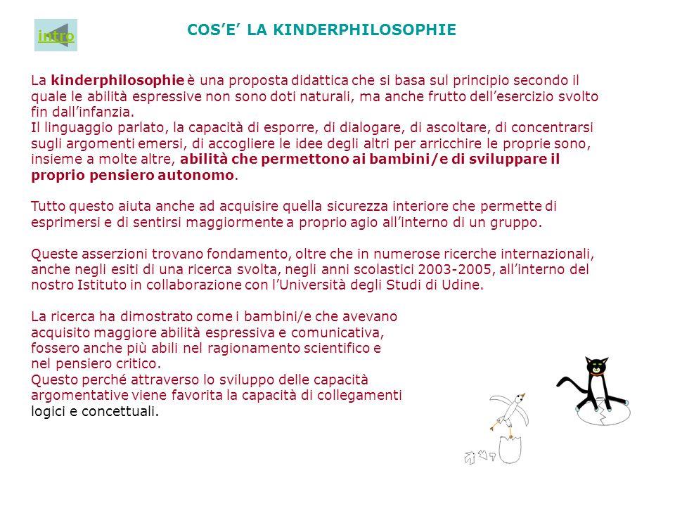 COSE LA KINDERPHILOSOPHIE La kinderphilosophie è una proposta didattica che si basa sul principio secondo il quale le abilità espressive non sono doti