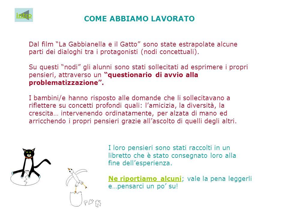 COME ABBIAMO LAVORATO Dal film La Gabbianella e il Gatto sono state estrapolate alcune parti dei dialoghi tra i protagonisti (nodi concettuali). Su qu