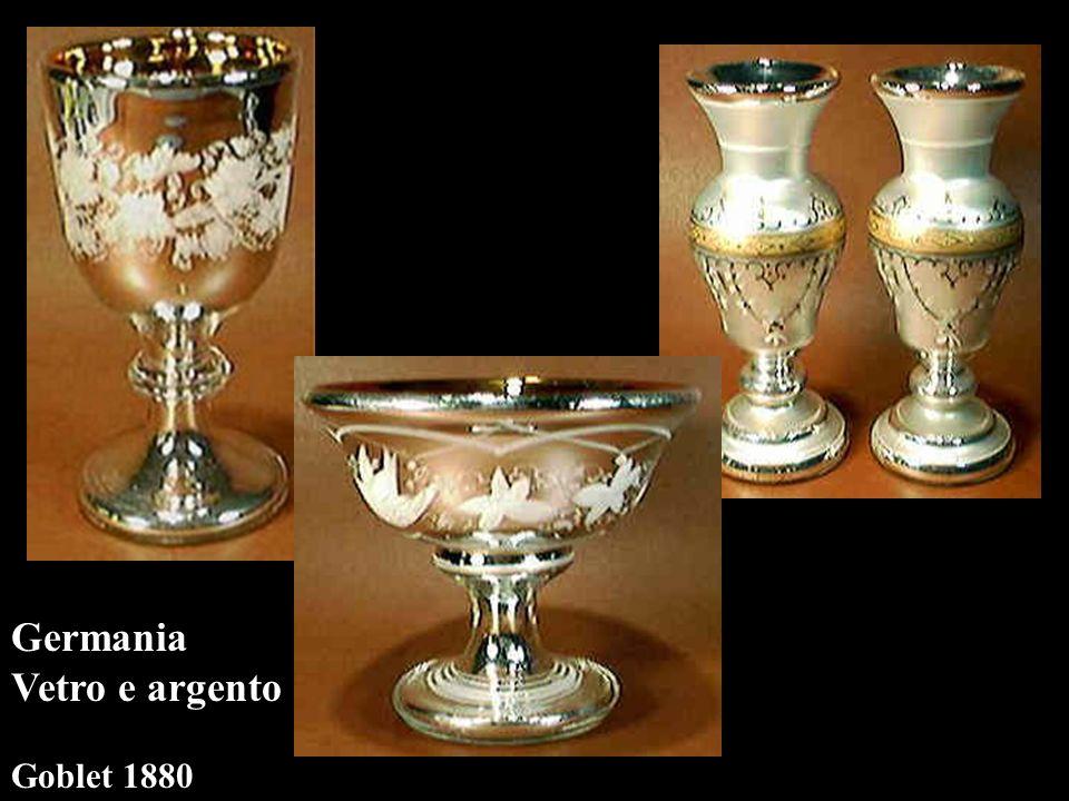 Germania Vetro e argento Goblet 1880 compote1889 vasi