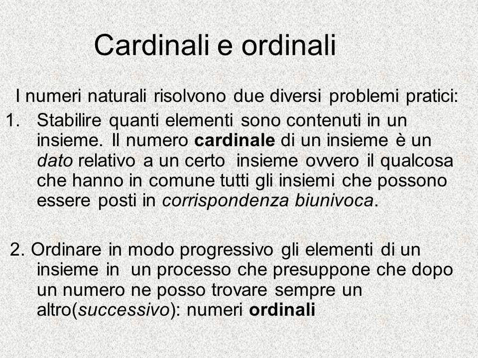 Cardinali e ordinali I numeri naturali risolvono due diversi problemi pratici: 1.Stabilire quanti elementi sono contenuti in un insieme. Il numero car