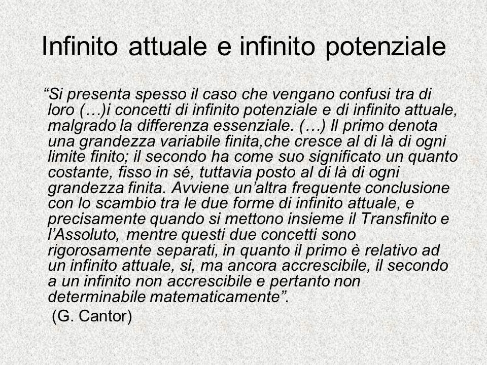 Infinito attuale e infinito potenziale Si presenta spesso il caso che vengano confusi tra di loro (…)i concetti di infinito potenziale e di infinito a