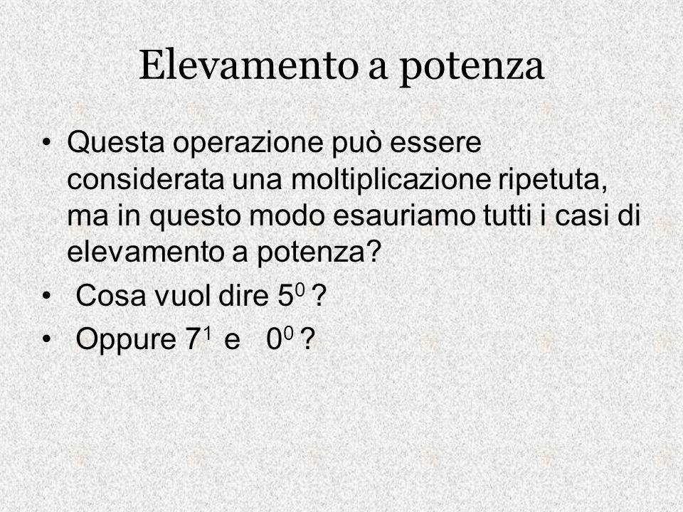 Elevamento a potenza Questa operazione può essere considerata una moltiplicazione ripetuta, ma in questo modo esauriamo tutti i casi di elevamento a p