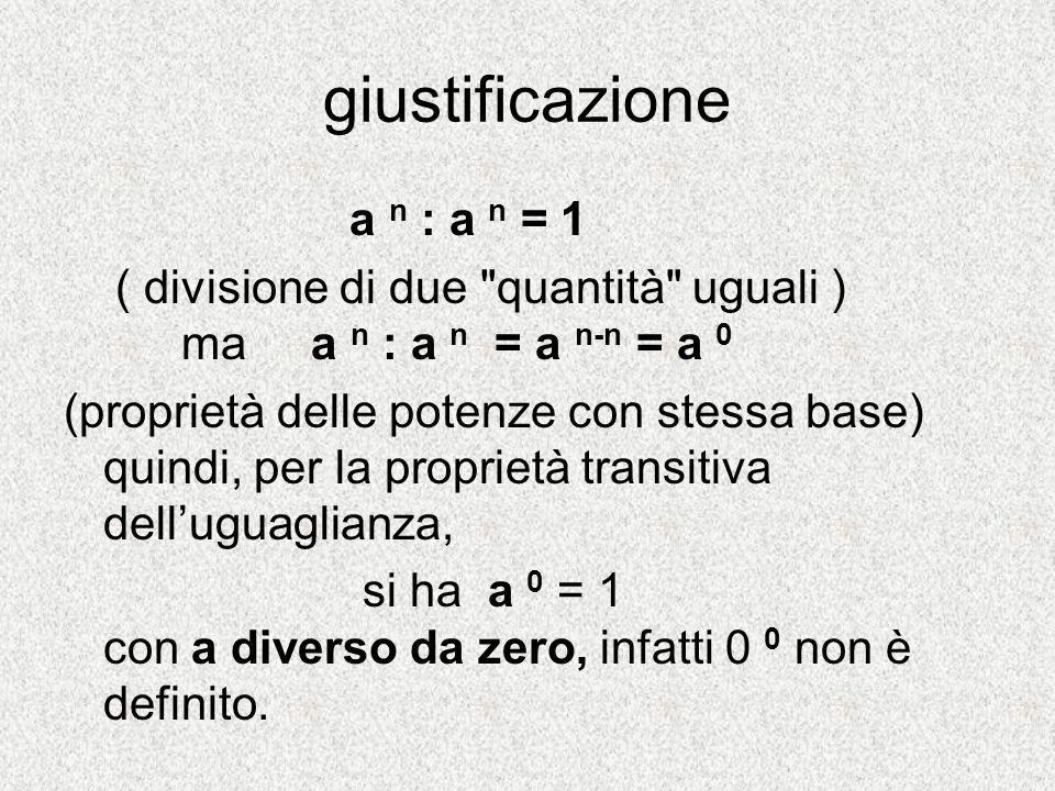 giustificazione a n : a n = 1 ( divisione di due