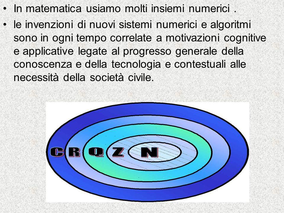 In matematica usiamo molti insiemi numerici. le invenzioni di nuovi sistemi numerici e algoritmi sono in ogni tempo correlate a motivazioni cognitive