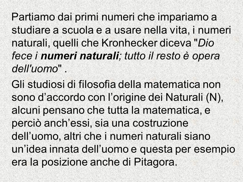 Partiamo dai primi numeri che impariamo a studiare a scuola e a usare nella vita, i numeri naturali, quelli che Kronhecker diceva
