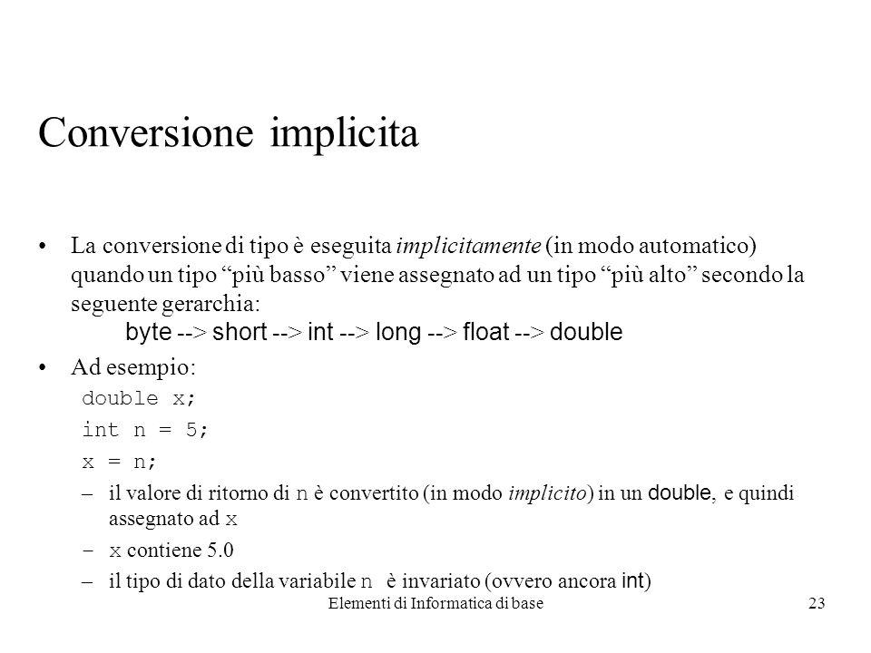 Elementi di Informatica di base23 Conversione implicita La conversione di tipo è eseguita implicitamente (in modo automatico) quando un tipo più basso viene assegnato ad un tipo più alto secondo la seguente gerarchia: byte --> short --> int --> long --> float --> double Ad esempio: double x; int n = 5; x = n; –il valore di ritorno di n è convertito (in modo implicito) in un double, e quindi assegnato ad x –x contiene 5.0 –il tipo di dato della variabile n è invariato (ovvero ancora int )