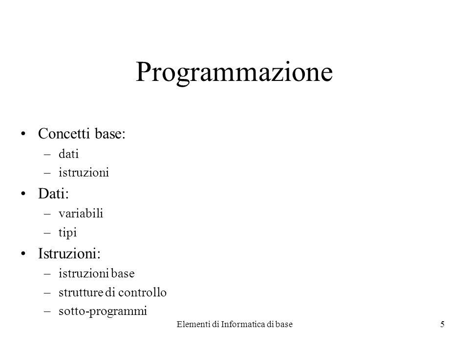 Elementi di Informatica di base5 Programmazione Concetti base: –dati –istruzioni Dati: –variabili –tipi Istruzioni: –istruzioni base –strutture di controllo –sotto-programmi