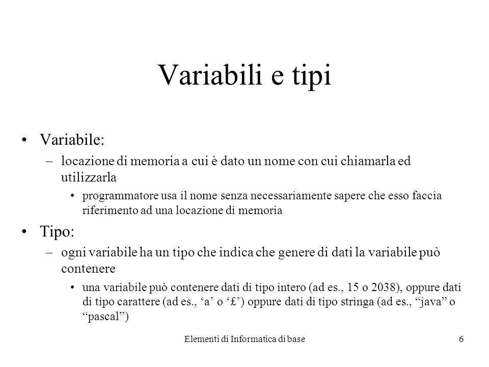 Elementi di Informatica di base6 Variabili e tipi Variabile: –locazione di memoria a cui è dato un nome con cui chiamarla ed utilizzarla programmatore