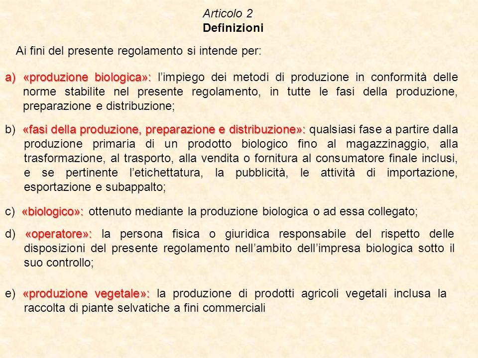 Articolo 2 Definizioni Ai fini del presente regolamento si intende per: a)«produzione biologica»: a)«produzione biologica»: limpiego dei metodi di pro