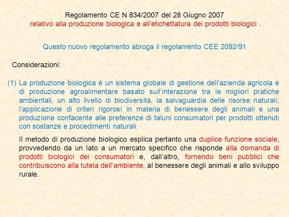 Regolamento CE N 834/2007 del 28 Giugno 2007 relativo alla produzione biologica e alletichettatura dei prodotti biologici. Questo nuovo regolamento ab