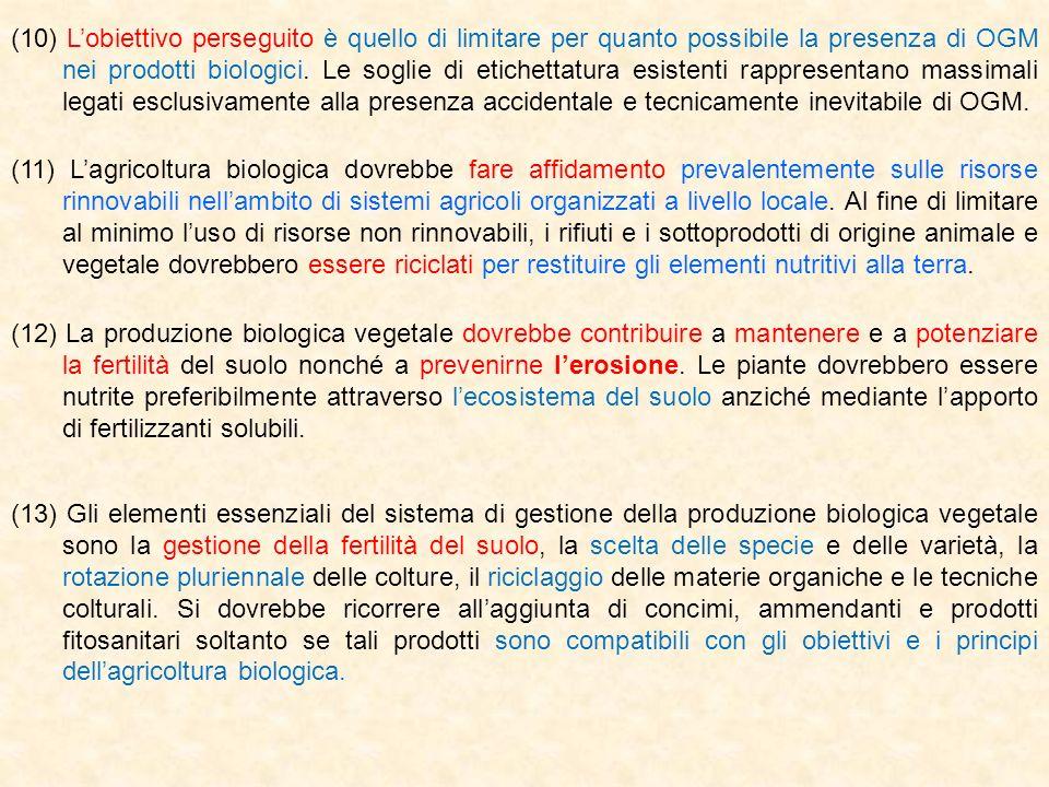(10) Lobiettivo perseguito è quello di limitare per quanto possibile la presenza di OGM nei prodotti biologici. Le soglie di etichettatura esistenti r