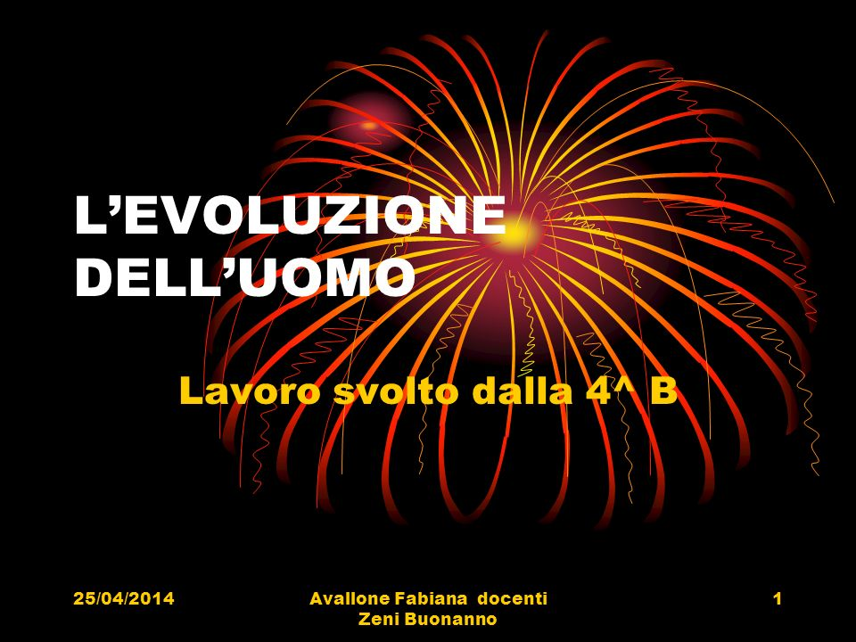 25/04/2014Avallone Fabiana docenti Zeni Buonanno 1 LEVOLUZIONE DELLUOMO Lavoro svolto dalla 4^ B