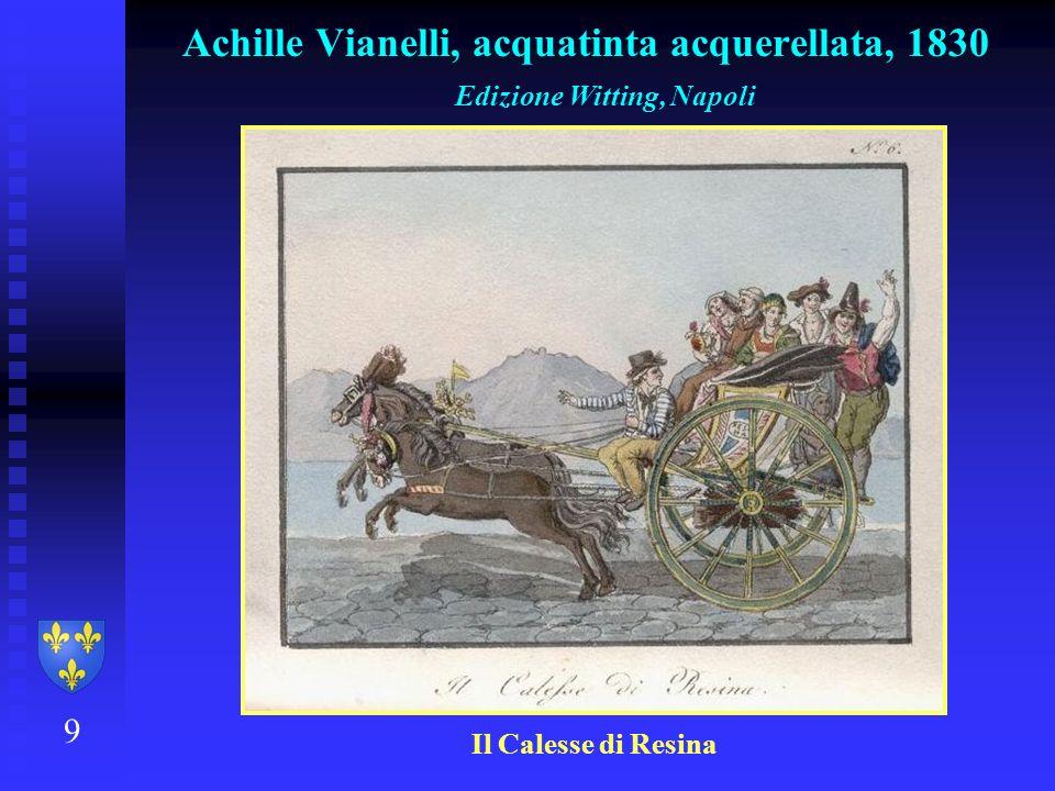 9 Achille Vianelli, acquatinta acquerellata, 1830 Edizione Witting, Napoli Il Calesse di Resina