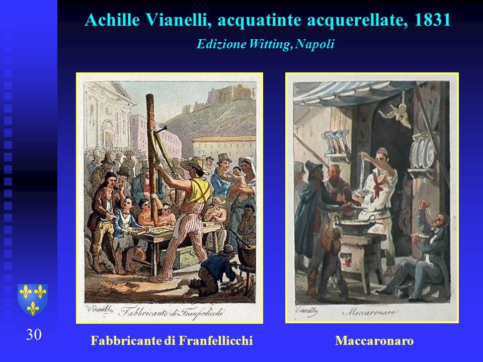 30 Achille Vianelli, acquatinte acquerellate, 1831 Edizione Witting, Napoli Fabbricante di Franfellicchi Maccaronaro