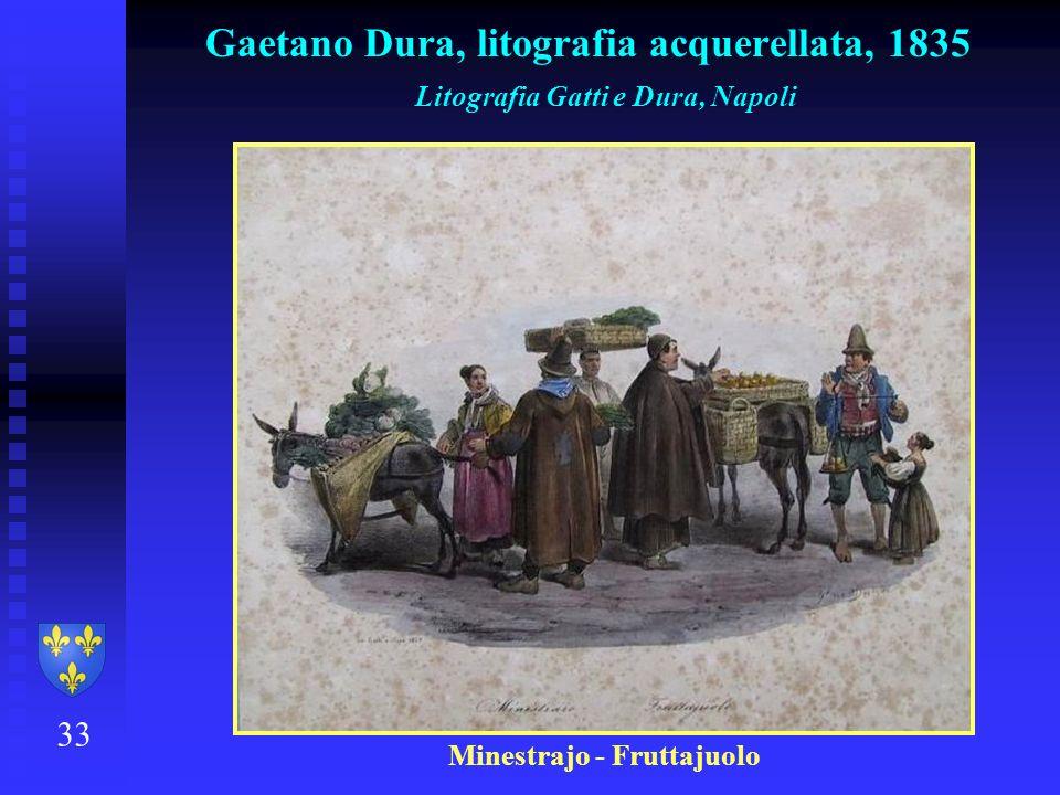 33 Gaetano Dura, litografia acquerellata, 1835 Litografia Gatti e Dura, Napoli Minestrajo - Fruttajuolo