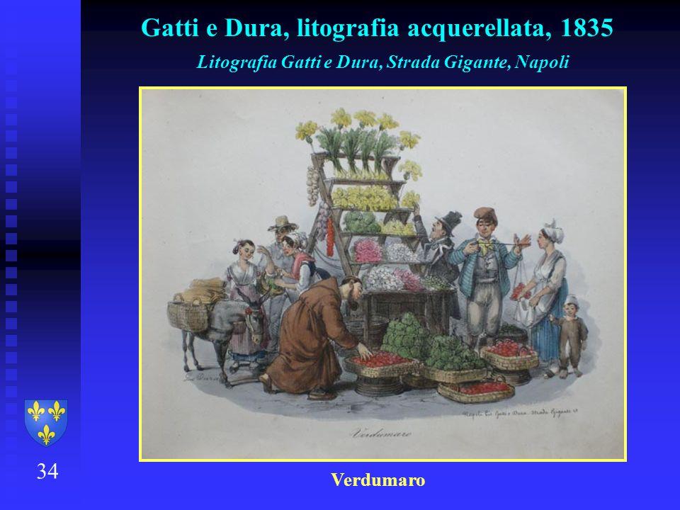 34 Gatti e Dura, litografia acquerellata, 1835 Litografia Gatti e Dura, Strada Gigante, Napoli Verdumaro