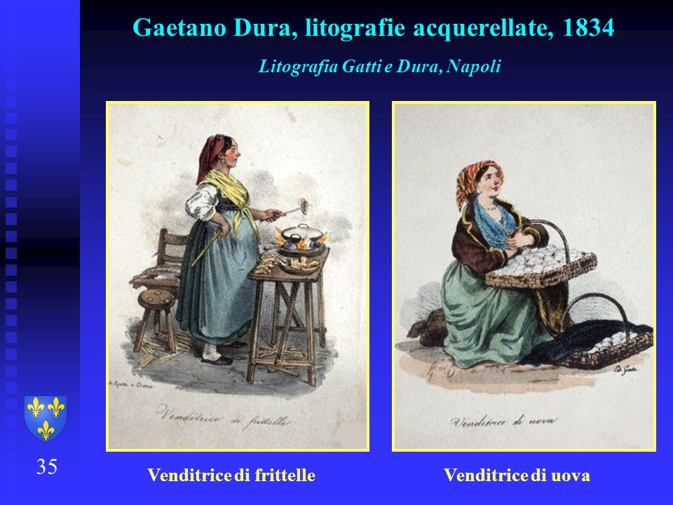 35 Gaetano Dura, litografie acquerellate, 1834 Litografia Gatti e Dura, Napoli Venditrice di frittelle Venditrice di uova