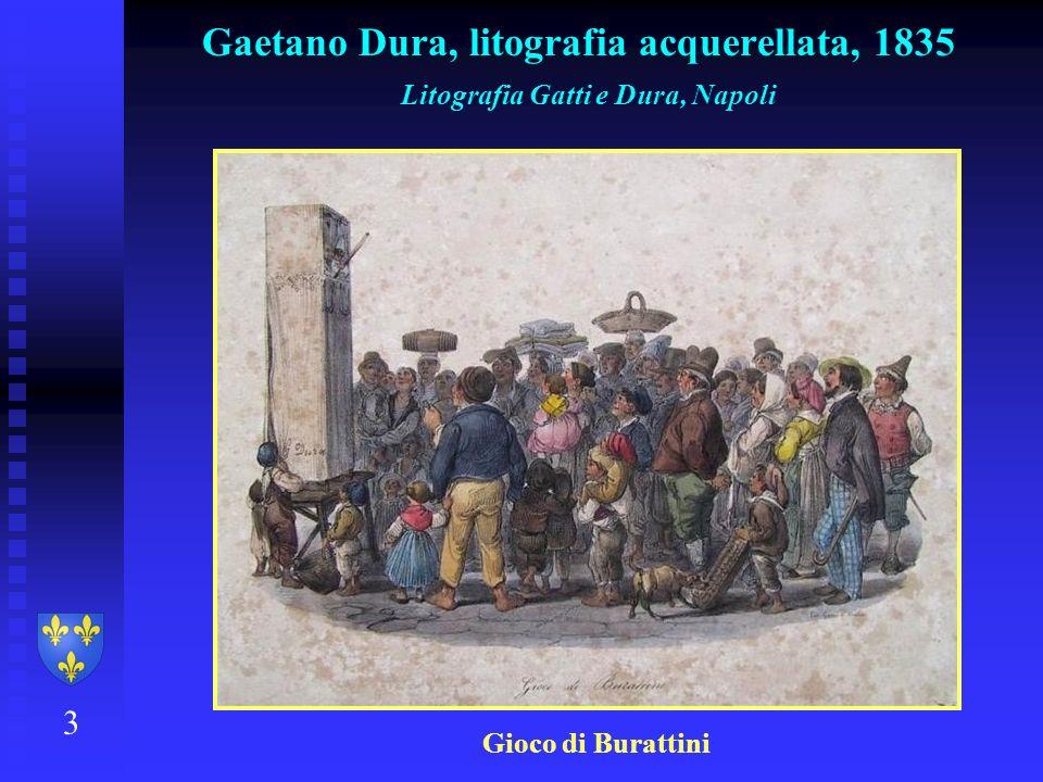 Gaetano Dura, litografia acquerellata, 1835 3 Litografia Gatti e Dura, Napoli Gioco di Burattini