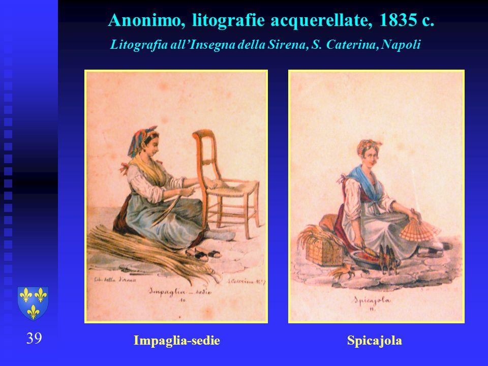 39 Anonimo, litografie acquerellate, 1835 c. Litografia allInsegna della Sirena, S. Caterina, Napoli Impaglia-sedie Spicajola