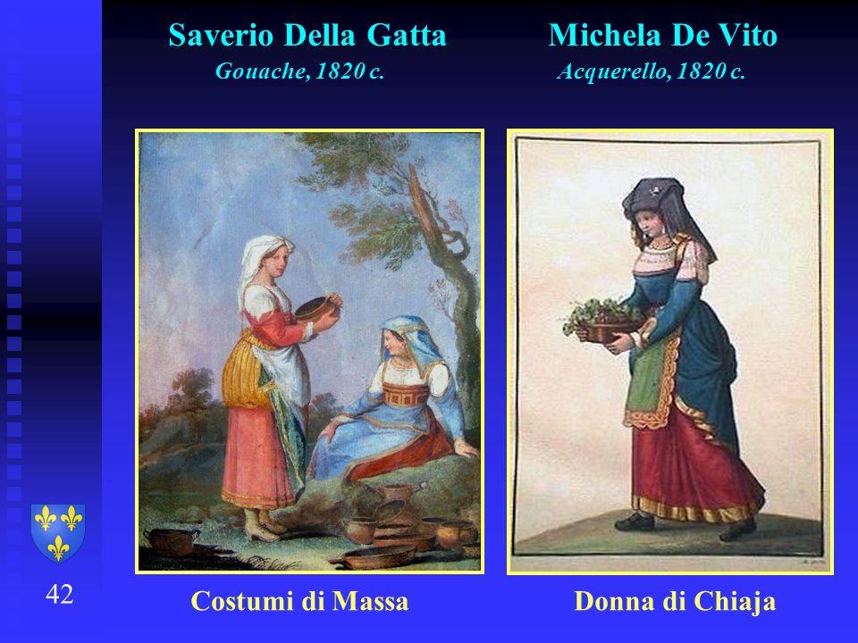42 Saverio Della Gatta Michela De Vito Gouache, 1820 c. Acquerello, 1820 c. Costumi di Massa Donna di Chiaja