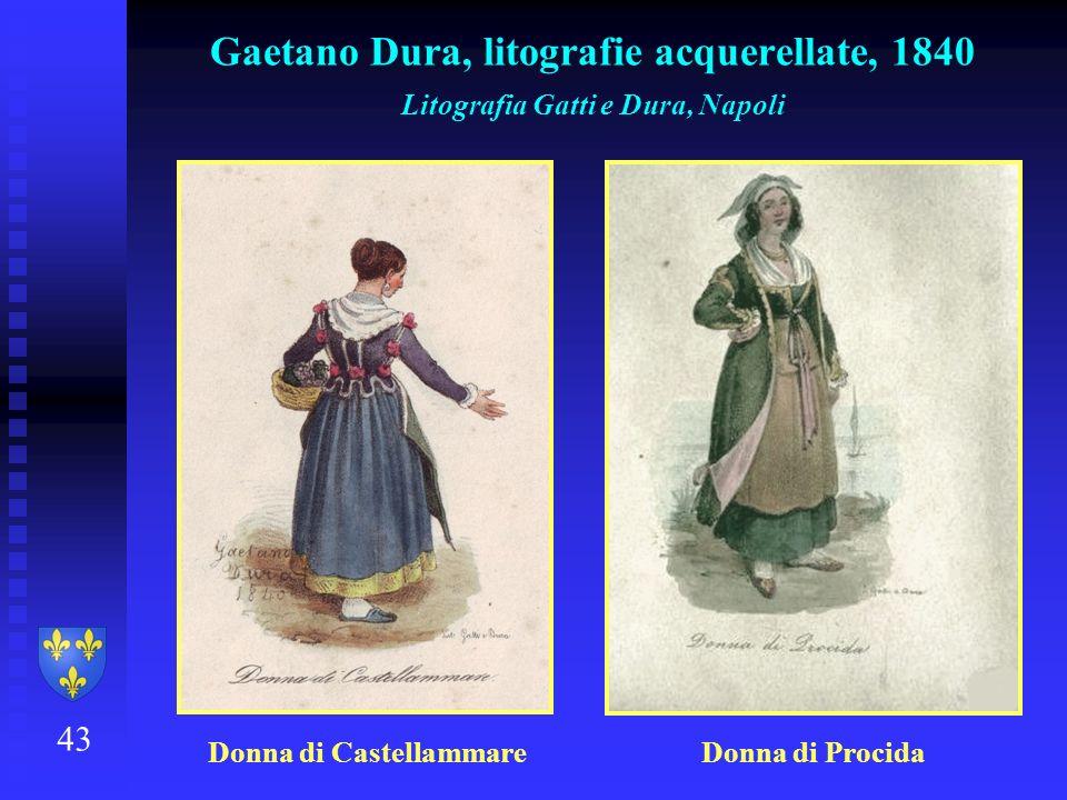 43 Gaetano Dura, litografie acquerellate, 1840 Litografia Gatti e Dura, Napoli Donna di Castellammare Donna di Procida
