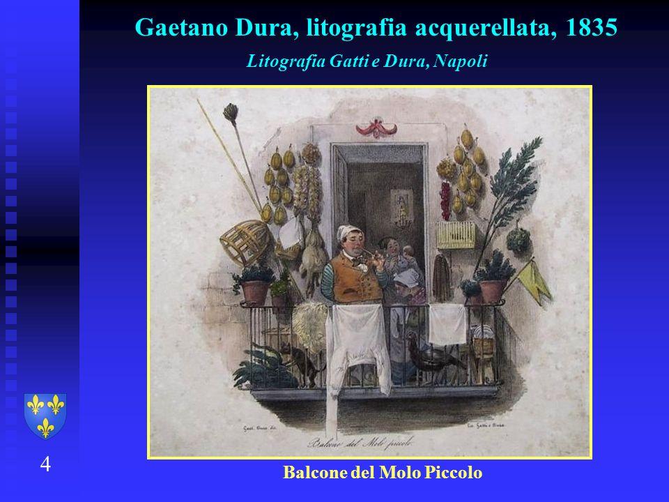 4 Gaetano Dura, litografia acquerellata, 1835 Litografia Gatti e Dura, Napoli Balcone del Molo Piccolo
