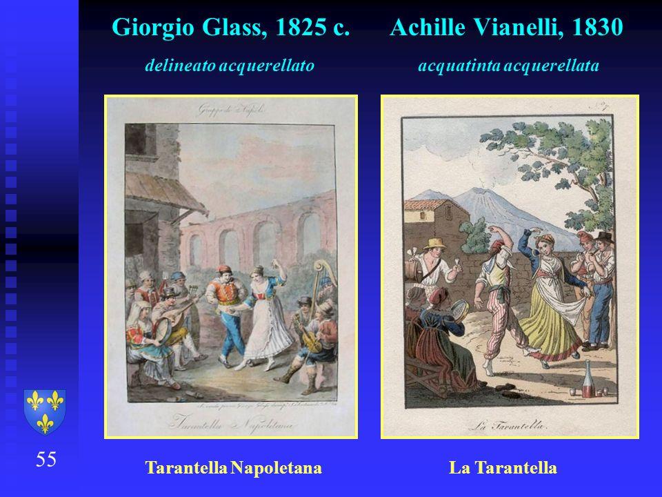 55 Giorgio Glass, 1825 c. Achille Vianelli, 1830 delineato acquerellato acquatinta acquerellata Tarantella Napoletana La Tarantella
