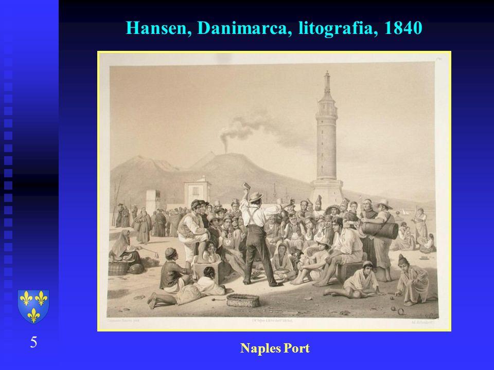 Hansen, Danimarca, litografia, 1840 5 Naples Port