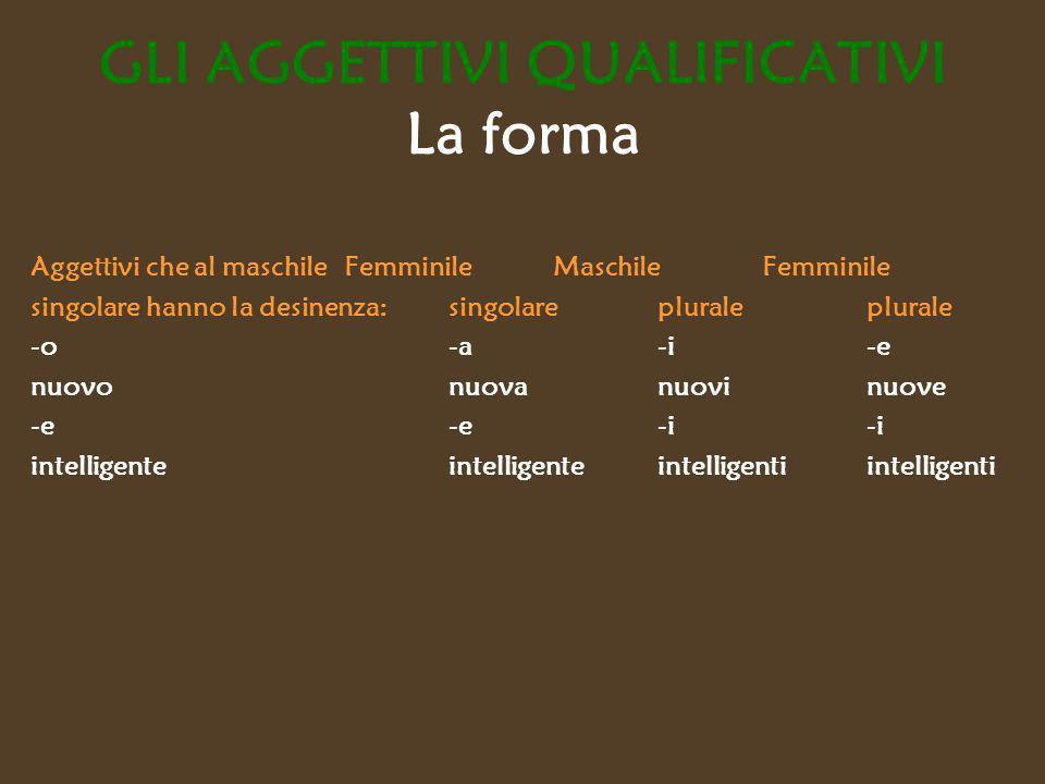 GLI AGGETTIVI QUALIFICATIVI La forma Aggettivi che al maschile Femminile Maschile Femminile singolare hanno la desinenza: singolare plurale plurale -o