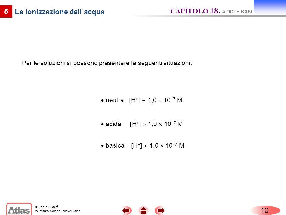 © Paolo Pistarà © Istituto Italiano Edizioni Atlas 10 5 La ionizzazione dellacqua Per le soluzioni si possono presentare le seguenti situazioni: neutr