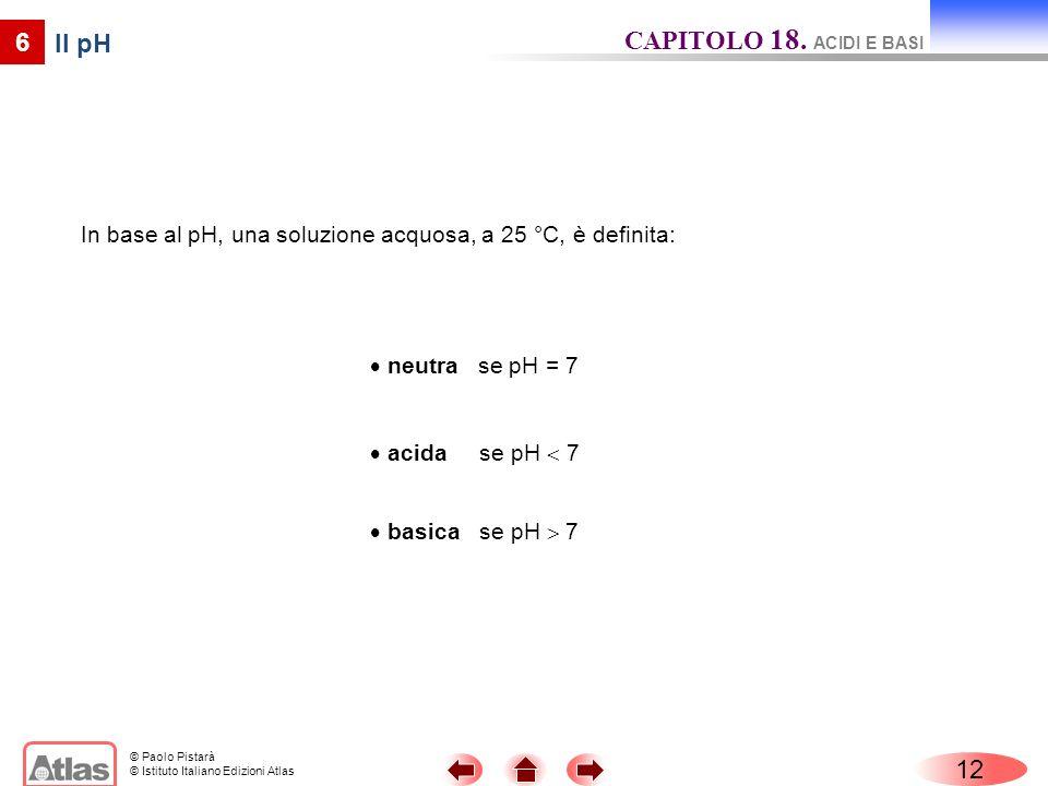 © Paolo Pistarà © Istituto Italiano Edizioni Atlas 12 6 Il pH In base al pH, una soluzione acquosa, a 25 °C, è definita: CAPITOLO 18. ACIDI E BASI neu