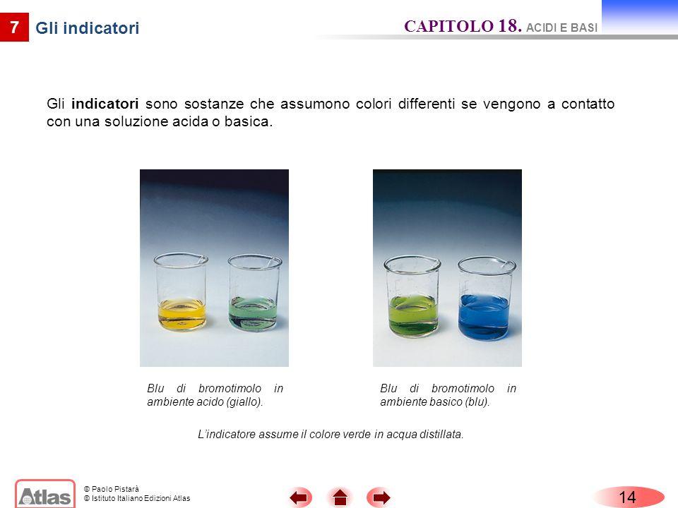 © Paolo Pistarà © Istituto Italiano Edizioni Atlas Gli indicatori sono sostanze che assumono colori differenti se vengono a contatto con una soluzione