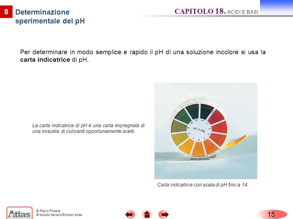 © Paolo Pistarà © Istituto Italiano Edizioni Atlas Per determinare in modo semplice e rapido il pH di una soluzione incolore si usa la carta indicatri