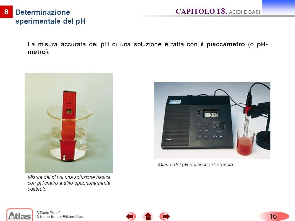 © Paolo Pistarà © Istituto Italiano Edizioni Atlas 16 8 Determinazione sperimentale del pH CAPITOLO 18. ACIDI E BASI Misura del pH del succo di aranci
