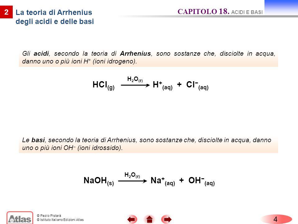 © Paolo Pistarà © Istituto Italiano Edizioni Atlas Gli acidi, secondo la teoria di Arrhenius, sono sostanze che, disciolte in acqua, danno uno o più i