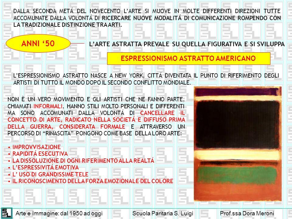 Arte e Immagine: dal 1950 ad oggiScuola Paritaria S. LuigiProf.ssa Dora Meroni DALLA SECONDA METÁ DEL NOVECENTO LARTE SI MUOVE IN MOLTE DIFFERENTI DIR