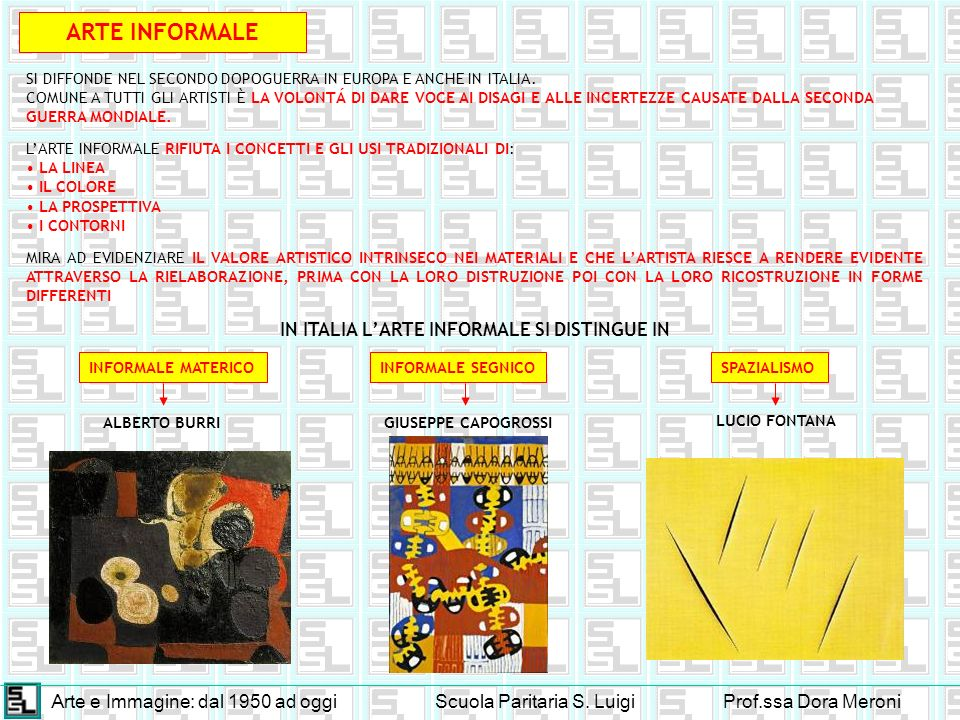 Arte e Immagine: dal 1950 ad oggiScuola Paritaria S. LuigiProf.ssa Dora Meroni ARTE INFORMALE SI DIFFONDE NEL SECONDO DOPOGUERRA IN EUROPA E ANCHE IN