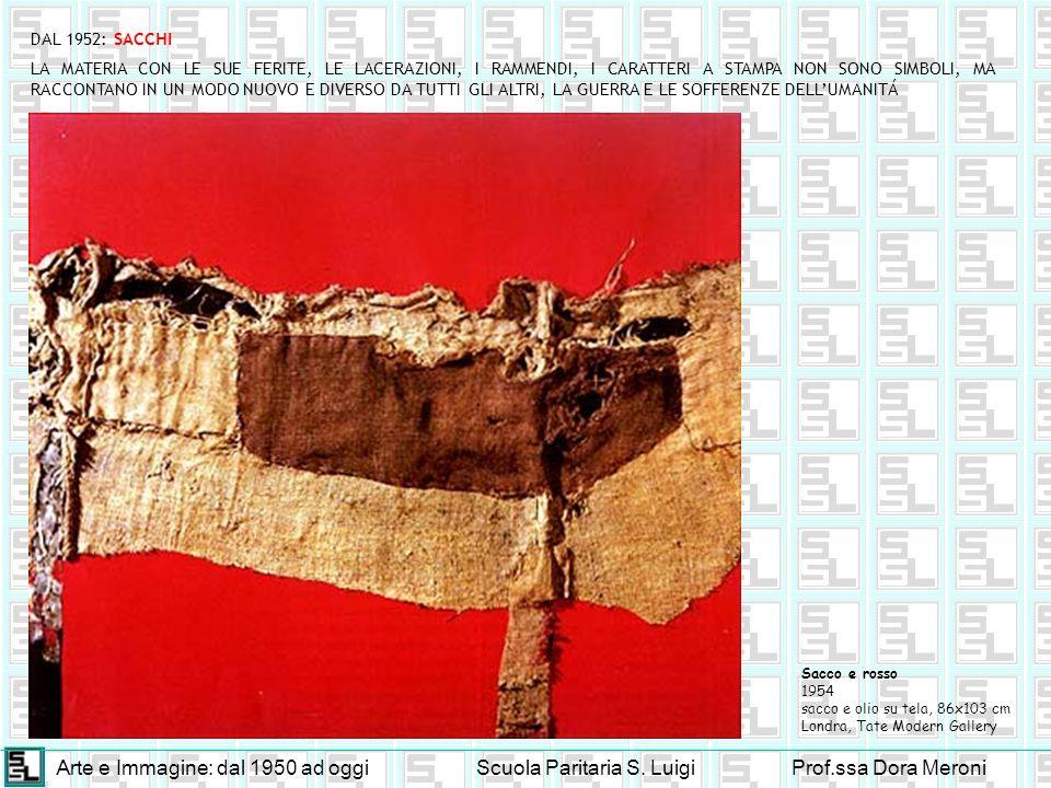 Arte e Immagine: dal 1950 ad oggiScuola Paritaria S. LuigiProf.ssa Dora Meroni DAL 1952: SACCHI Sacco e rosso 1954 sacco e olio su tela, 86x103 cm Lon