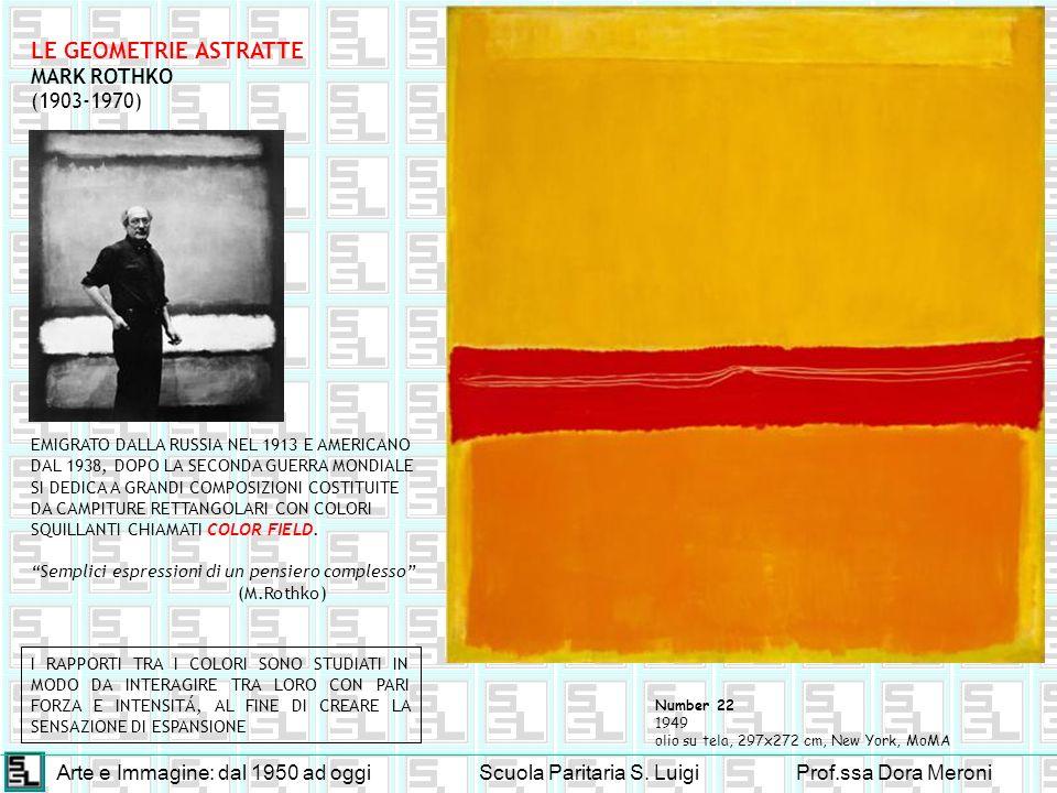 Arte e Immagine: dal 1950 ad oggiScuola Paritaria S. LuigiProf.ssa Dora Meroni LE GEOMETRIE ASTRATTE MARK ROTHKO (1903-1970) EMIGRATO DALLA RUSSIA NEL