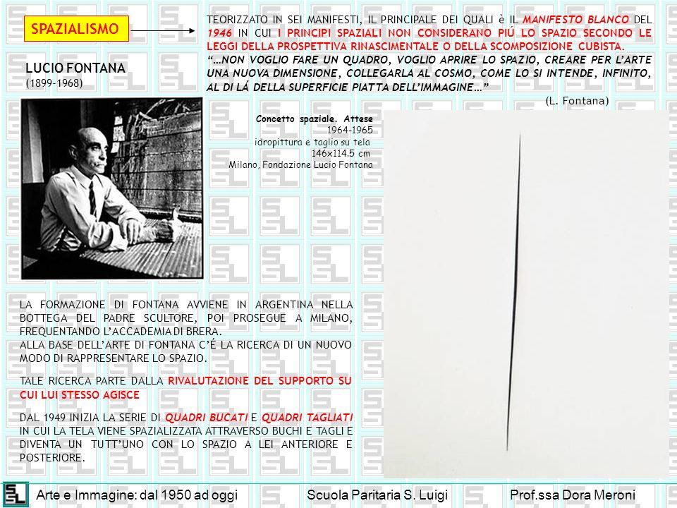 Arte e Immagine: dal 1950 ad oggiScuola Paritaria S. LuigiProf.ssa Dora Meroni SPAZIALISMO LUCIO FONTANA (1899-1968) LA FORMAZIONE DI FONTANA AVVIENE