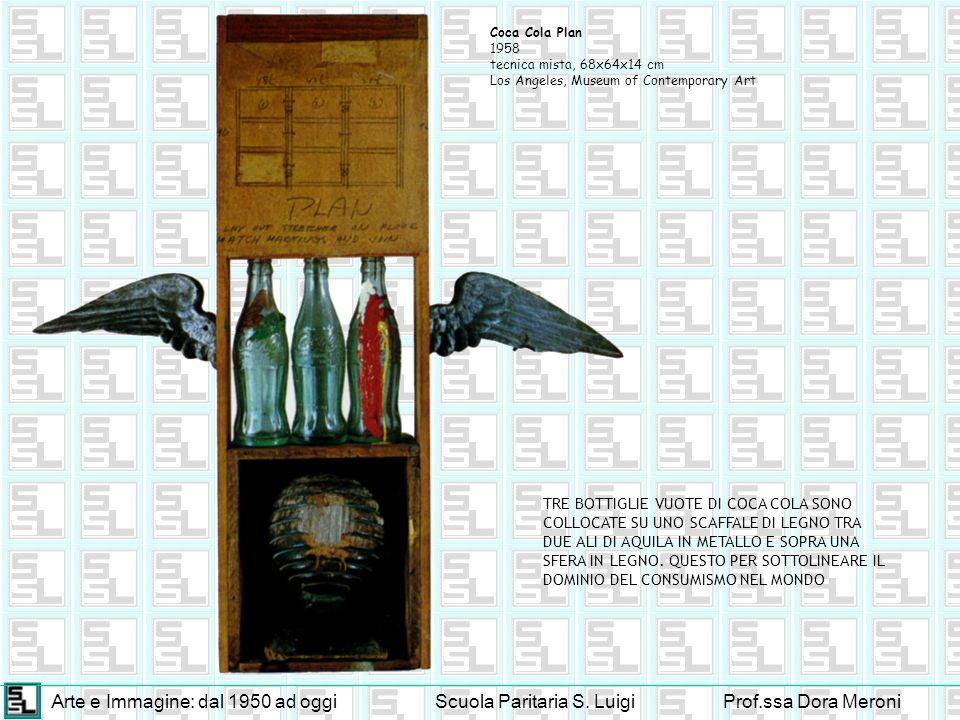 Arte e Immagine: dal 1950 ad oggiScuola Paritaria S. LuigiProf.ssa Dora Meroni Coca Cola Plan 1958 tecnica mista, 68x64x14 cm Los Angeles, Museum of C
